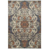 Oriental Weavers Pasha 8022K Blue and Rust